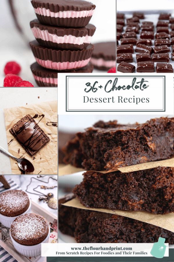 chocolate dessert ideas in a collage of images.