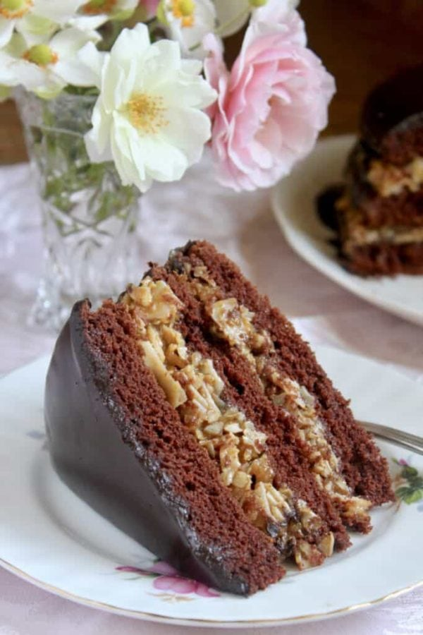 chocolate cake with german chocolate filling