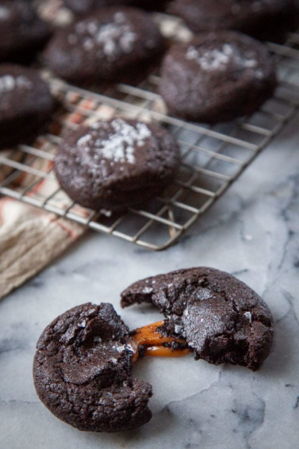 chocolate cookies with caramel in the middle