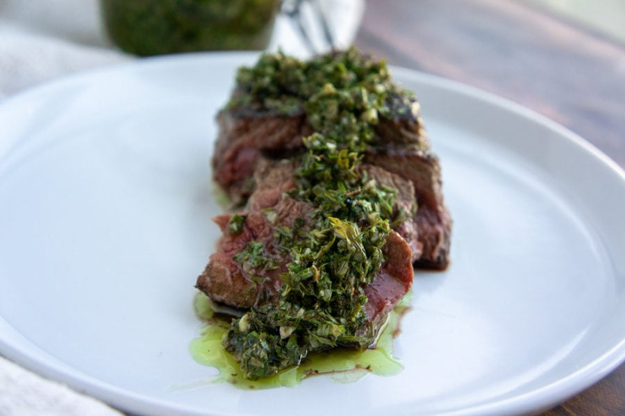 sirloin topped with chimichurri