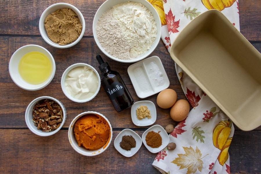 ingredients for a healthy pumpkin bread recipe