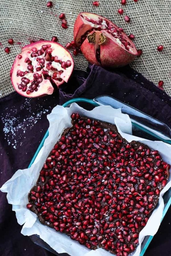 pomegranate fudge in a pan