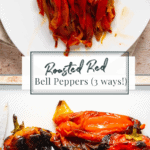 blackened peppers sliced up