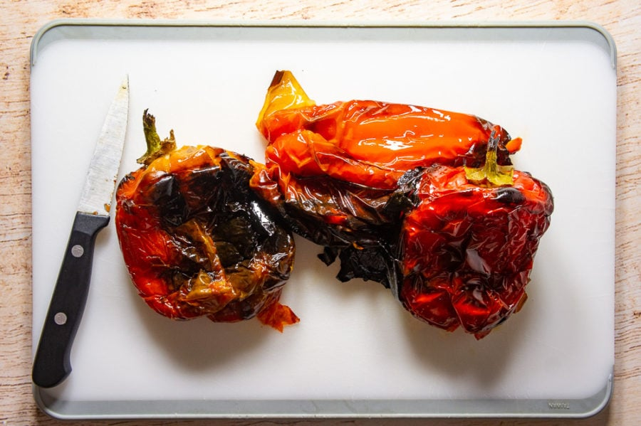 peppers roasted and ready to peel