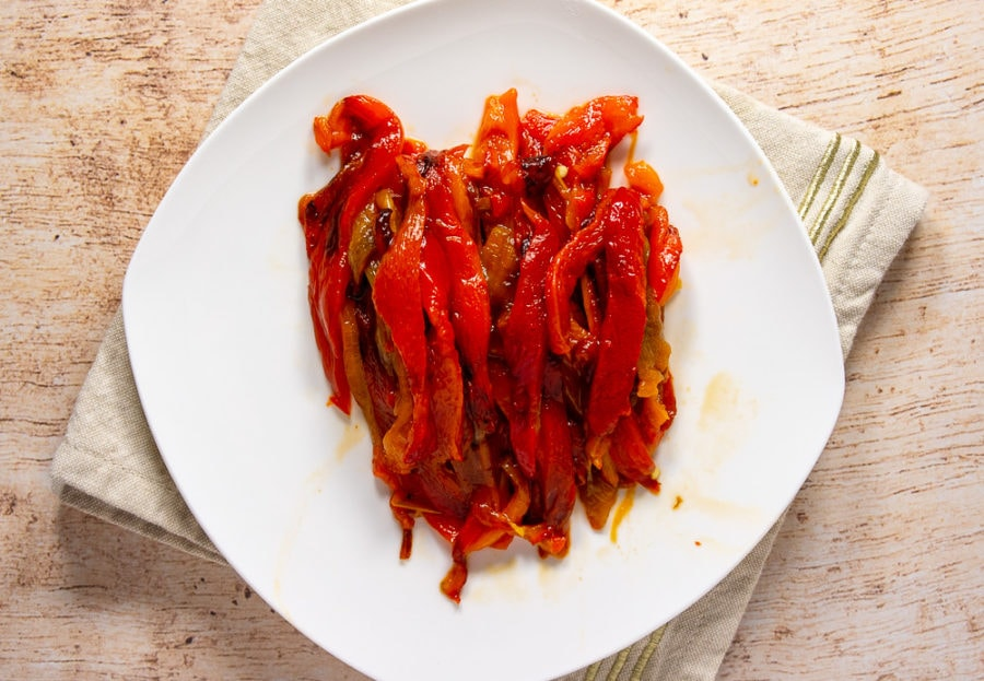 roasted red bell peppers on a plate