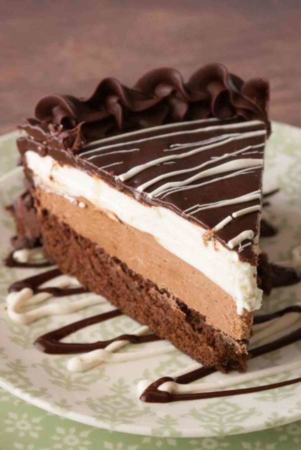 chocolate layered mousse cake on a plate