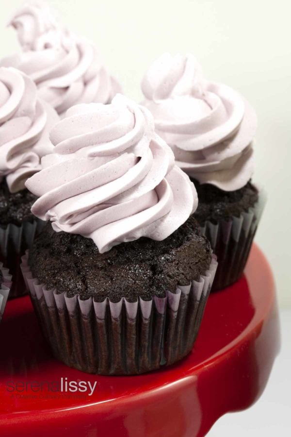 chocolate cupcakes with pink frosting